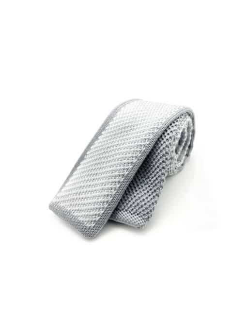 Light Grey with White Stripes Knitted Necktie KNT27.3