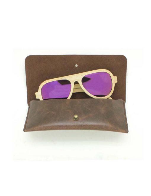'Maverick' Khaki with Purple Lens Bamboo in Aviator Style Sunglasses - EW2.NOB1