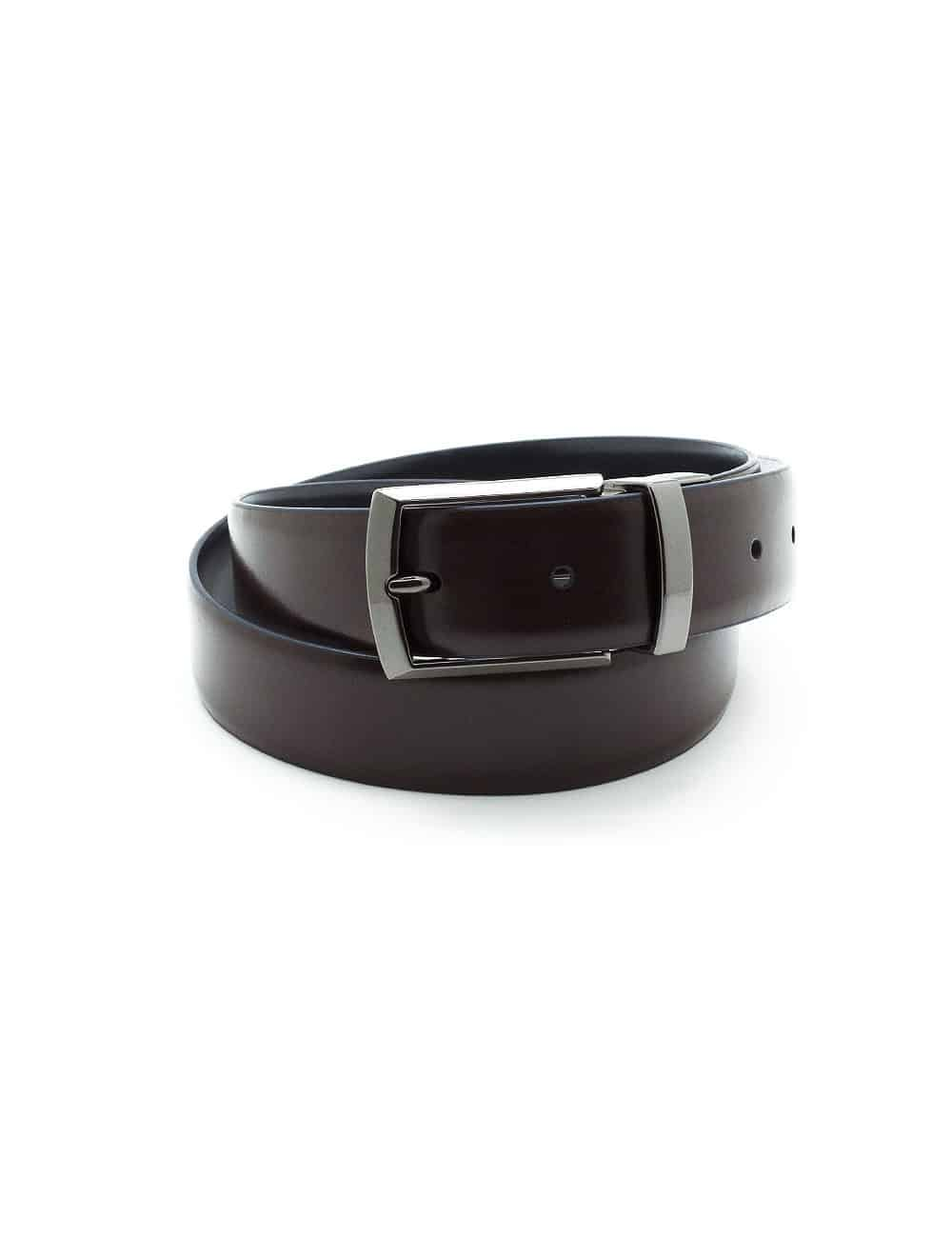 Navy / Dark Brown Reversible Leather Belt LBR10.8
