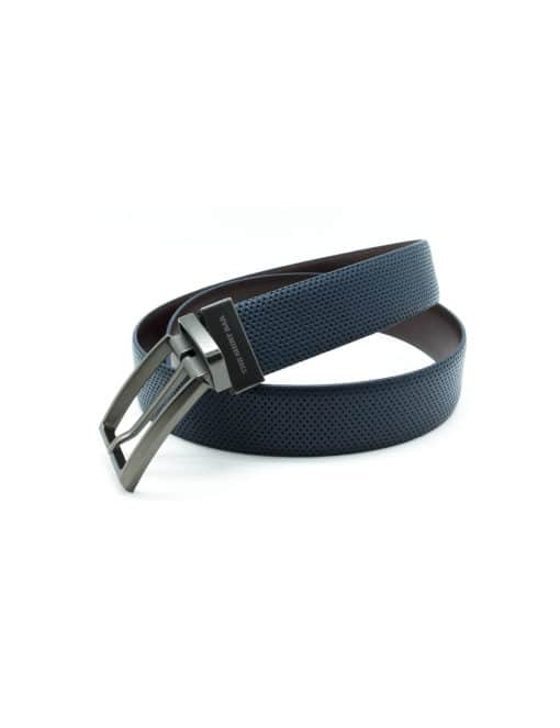 Navy / Dark Brown Reversible Leather Belt LBR12.8