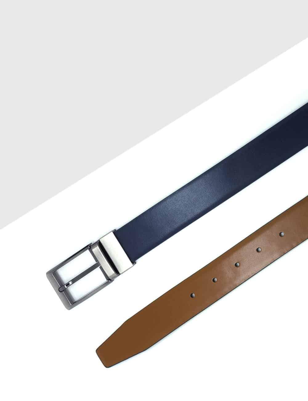 Navy / Tan Reversible Leather Belt LBR15.8
