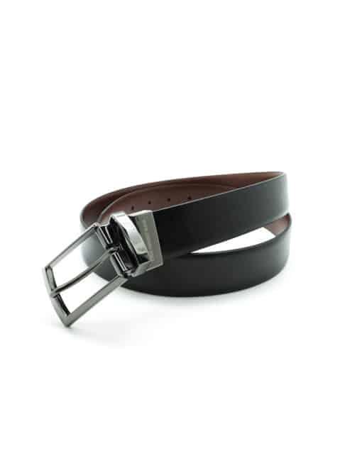 Black / Brown Textured Reversible Leather Belt LBR6.8
