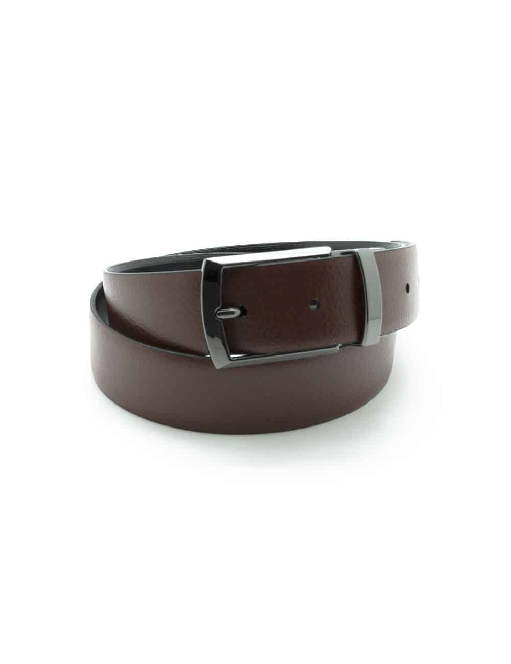 Black / Brown Textured Reversible Leather Belt LBR6.8