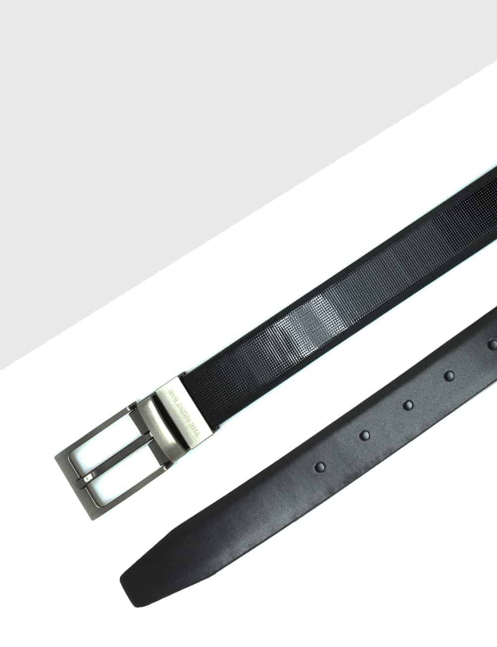 Shiny Black Reversible Leather Belt LBR8.8