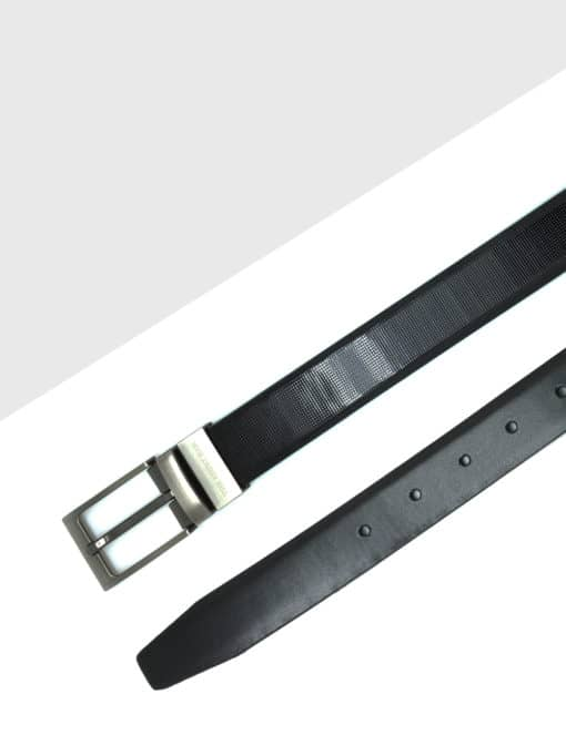 Shiny Black Reversible Leather Belt LBR8.8