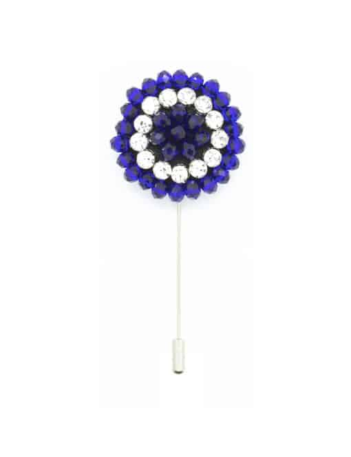 Blue Beaded Floral Lapel Pin LP27.10