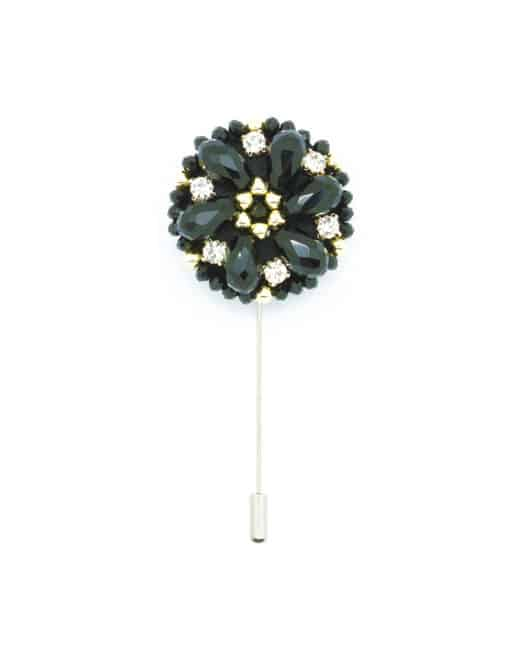 Black Beaded Floral Lapel Pin LP30.10