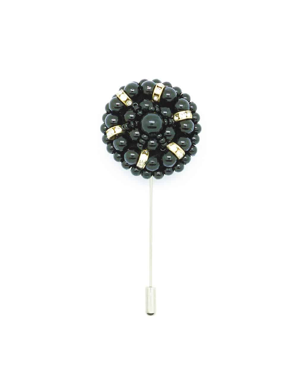 Black Beaded Floral Lapel Pin LP32.10
