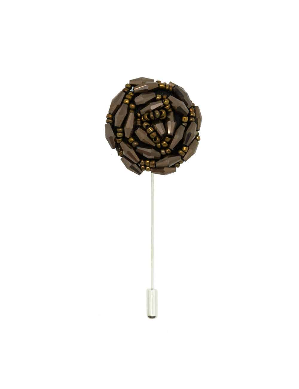 Bronze Beaded Floral Lapel Pin LP36.10