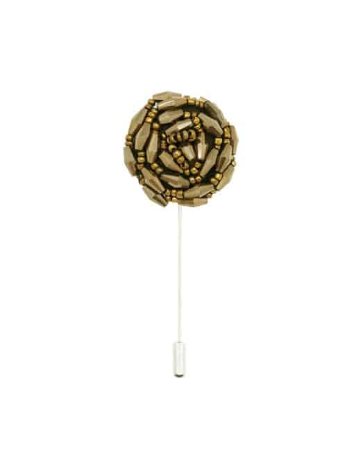 Dark Gold Beaded Floral Lapel Pin LP38.10