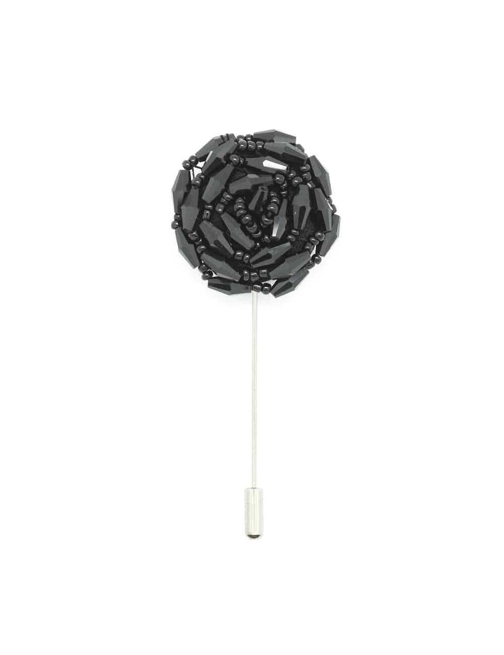 Black Beaded Floral Lapel Pin LP43.10