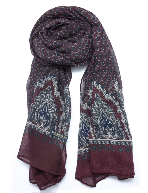 'Arches' Maroon Paisley Scarf - WS4.1