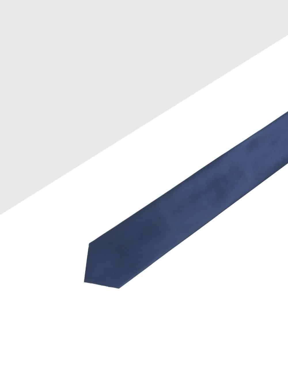 Solid Navy Blue Woven Necktie NT15.9