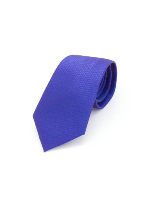 Blue Herringbone Spill Resist Woven Necktie NT21.9