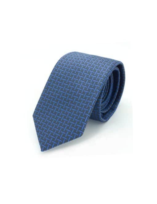 Blue and Grey Herringbone Spill Resist Woven Necktie NT25.9