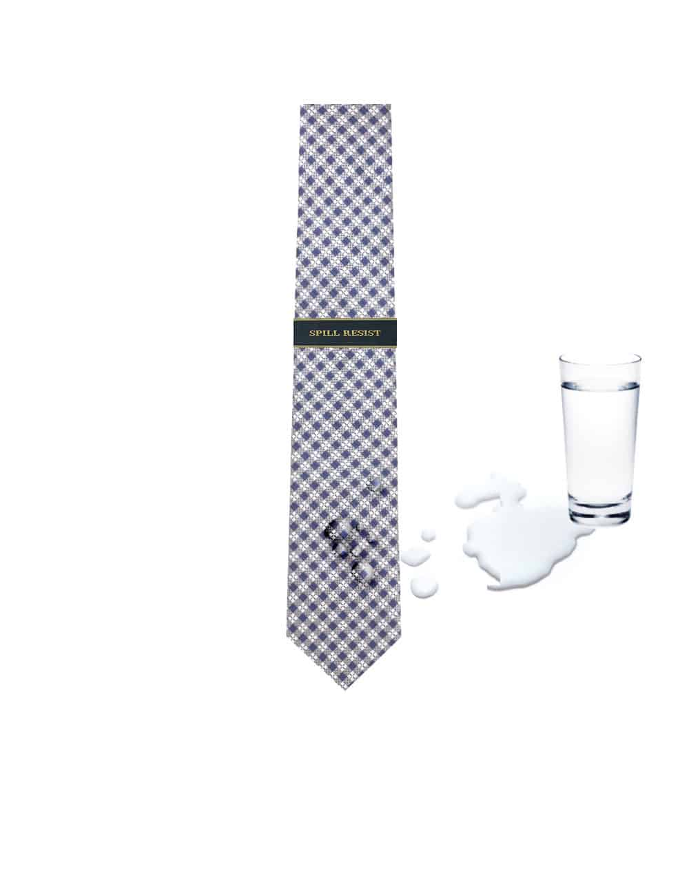 Blue and Grey Checks Spill Resist Woven Necktie NT26.9