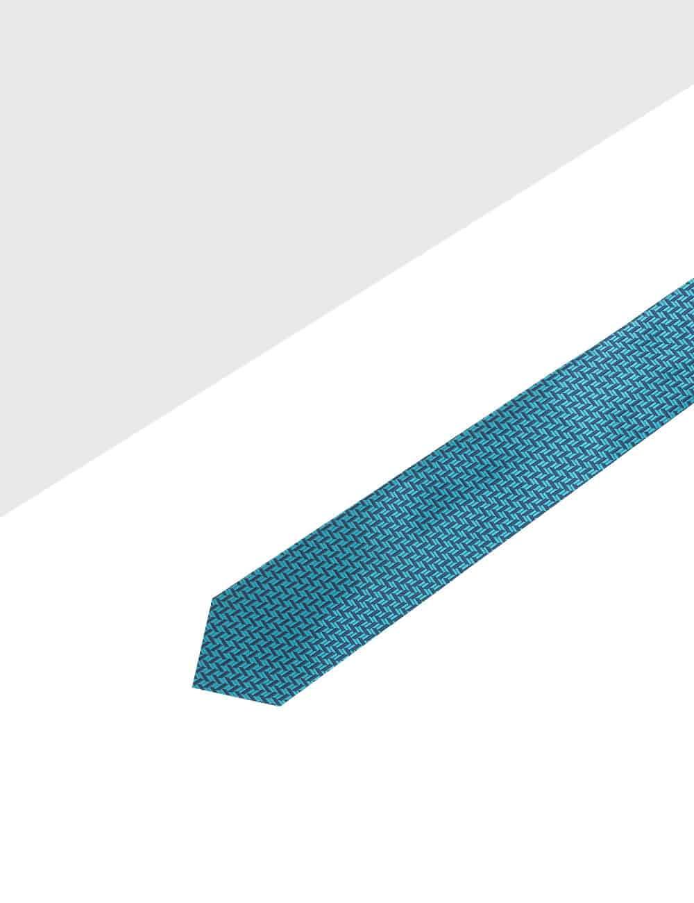 Turquoise and Navy Herringbone Spill Resist Woven Necktie NT28.9