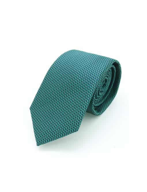Green and Navy Herringbone Spill Resist Woven Necktie NT29.9
