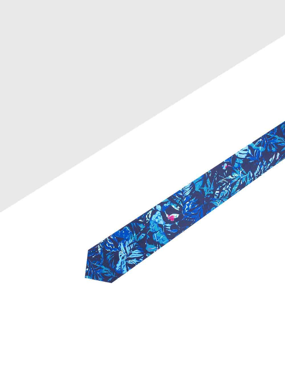 Navy Tropical Printed Necktie NT3.10