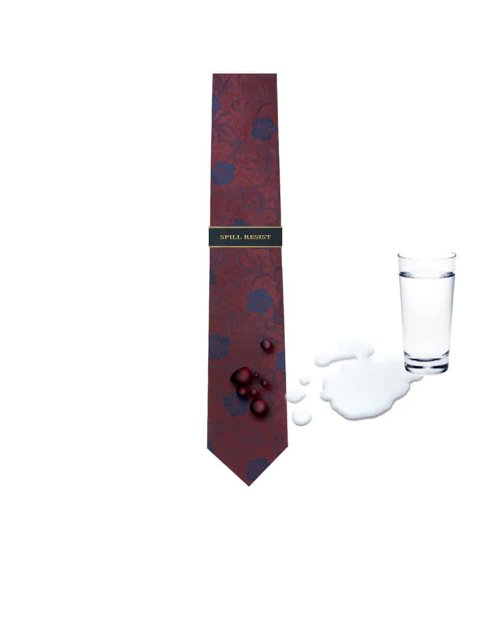 Red with Navy Floral Spill Resist Woven Necktie NT30.9