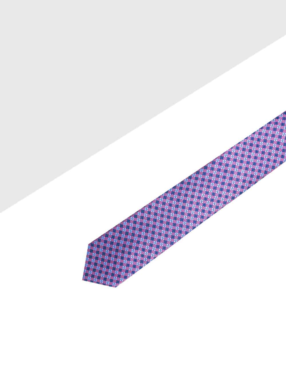 Navy and Pink Checks Spill Resist Woven Necktie NT32.9