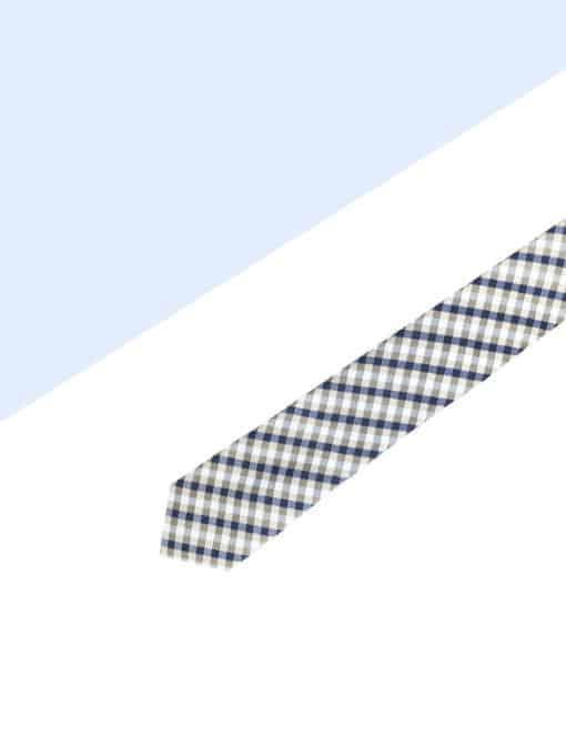 Brown Checks Spill Resist Woven Necktie NT33.9
