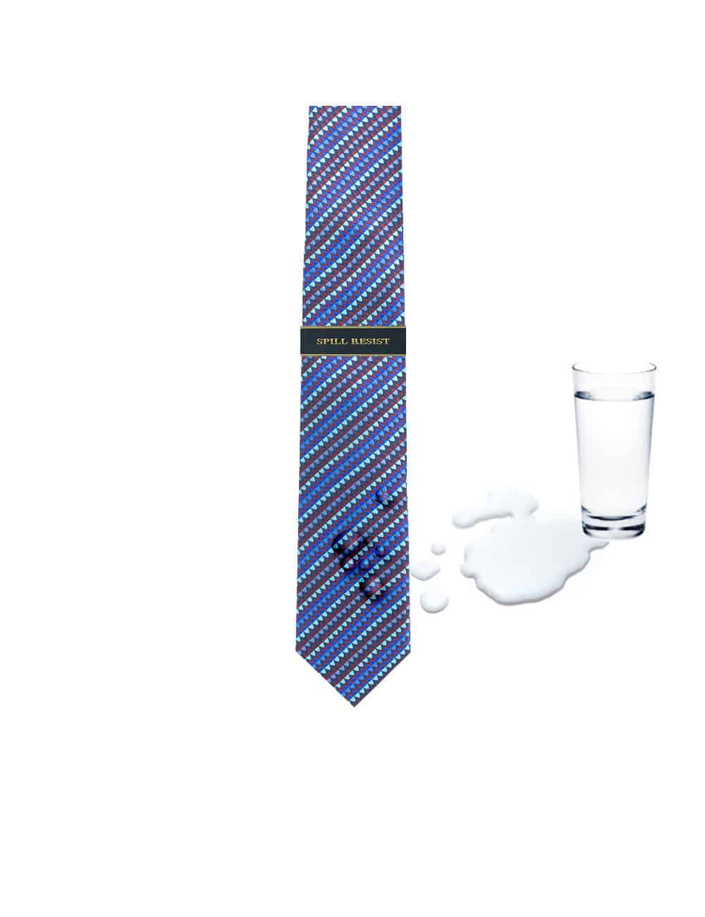 Turquoise and Blue Geometric Spill Resist Woven Necktie NT37.9