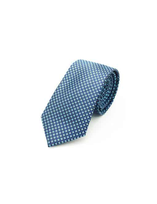 Navy with Turquoise Pattern Woven Necktie NT40.8