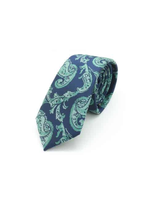 Green Paisley Spill Resist Woven Necktie NT42.9