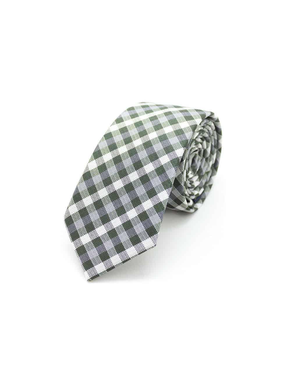 Green Checks Spill Resist Woven Necktie NT43.9