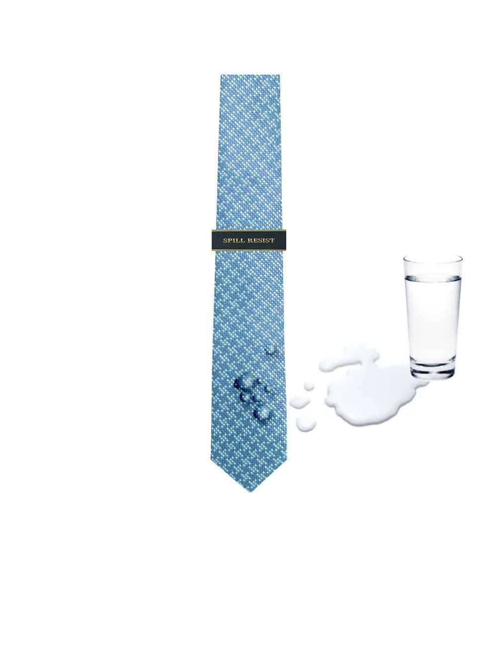 Turquoise Checks Spill Resist Woven Necktie NT44.9