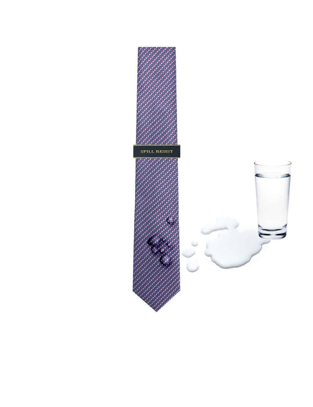 Navy and Sky Blue Dobby Spill Resist Woven Necktie NT46.9