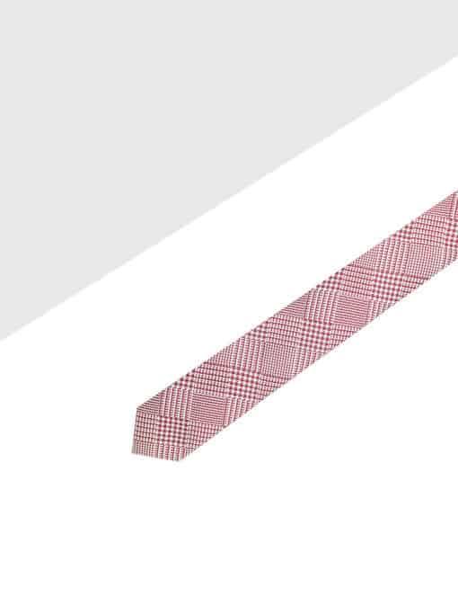 Red Checks Spill Resist Woven Necktie NT47.9