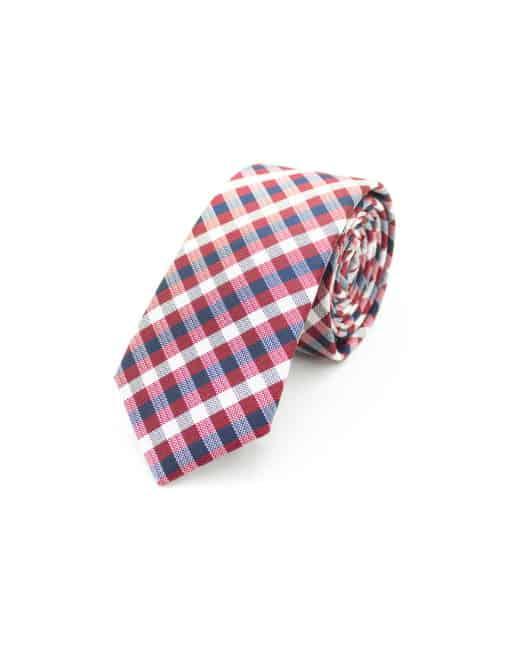 Red Checks Spill Resist Woven Necktie NT48.9