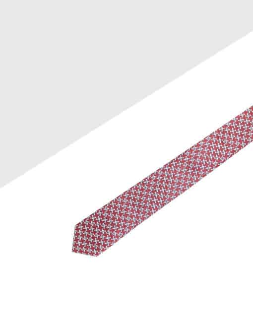 Red and Grey Checks Spill Resist Woven Necktie NT49.9