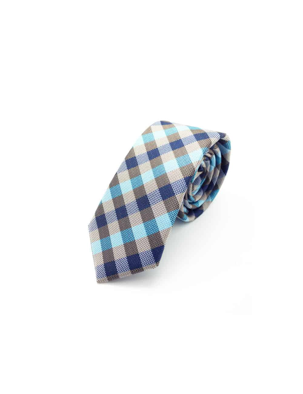 Navy/ Brown/ Blue Checks Spill Resist Woven Necktie NT52.9