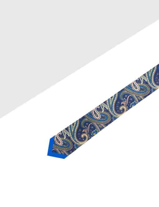 Navy with Beige Paisley Print Woven Necktie NT55.9