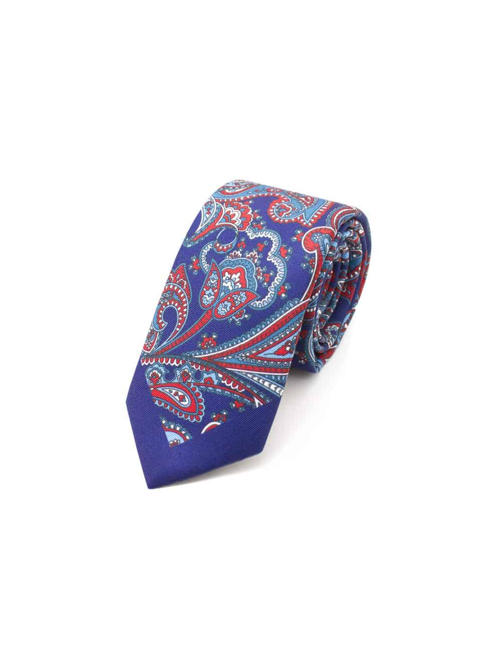 Navy with Red Paisley Print Woven Necktie NT56.9