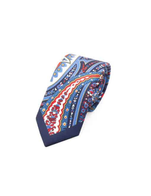 Navy with Red and White Paisley Print Woven Necktie NT57.9