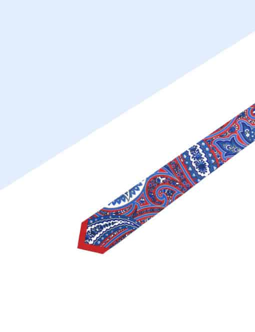 Red with Blue Paisley Print Woven Necktie NT58.9