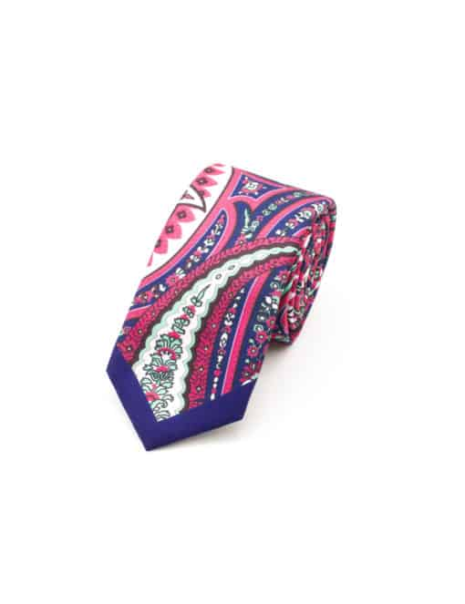 Navy with Pink and Green Paisley Print Woven Necktie NT59.9