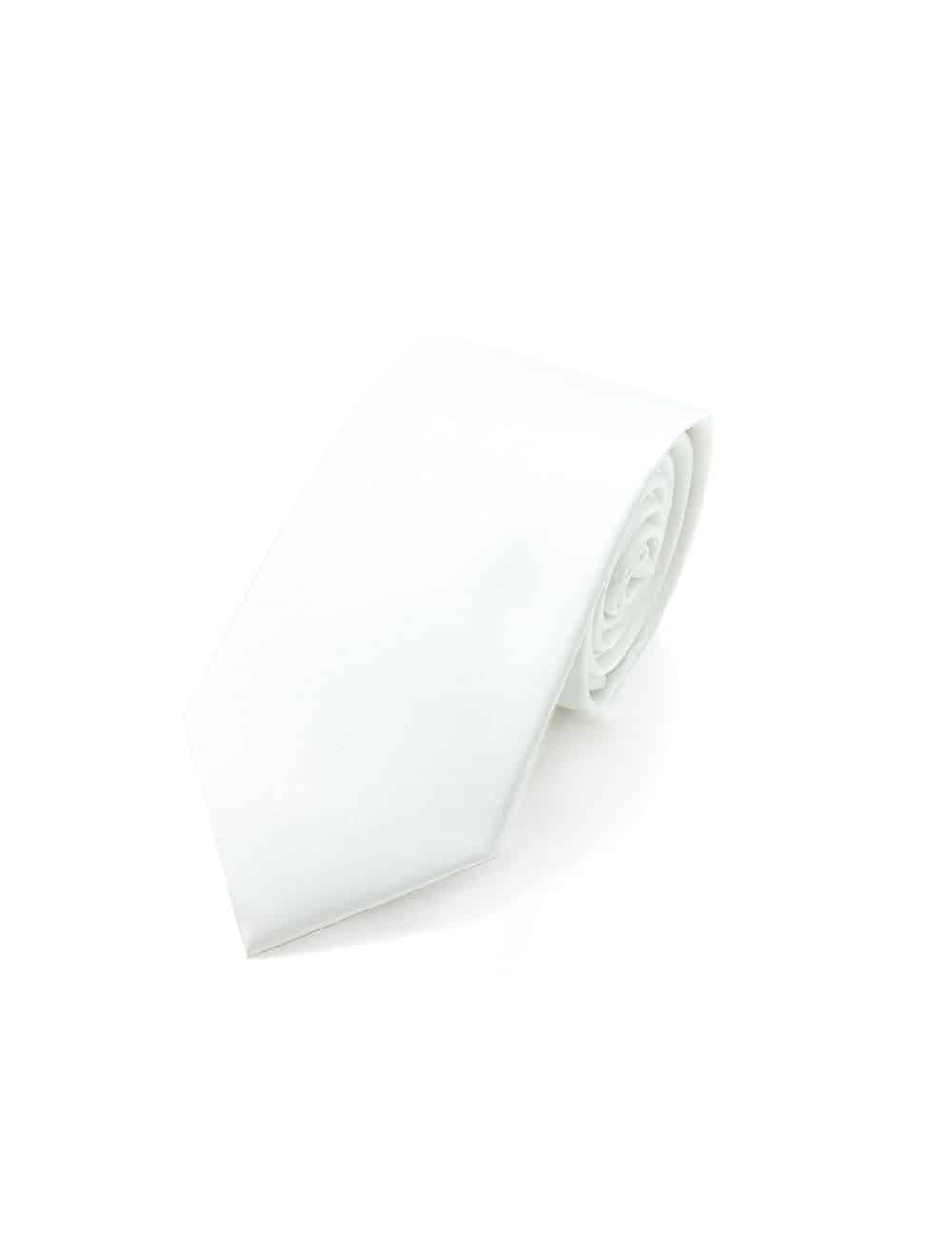 Solid White Spill Resist Woven Necktie NT6.13
