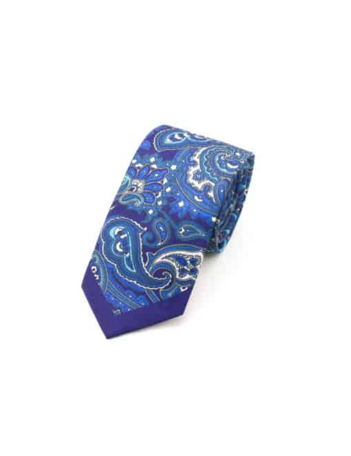 Navy with Blue Paisley Print Woven Necktie NT60.9
