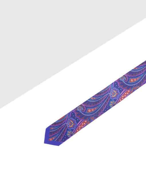 Purple Paisley Print Woven Necktie NT61.9