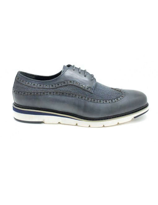 Navy Leather Derby Wingtip Shoes - F12B5.1