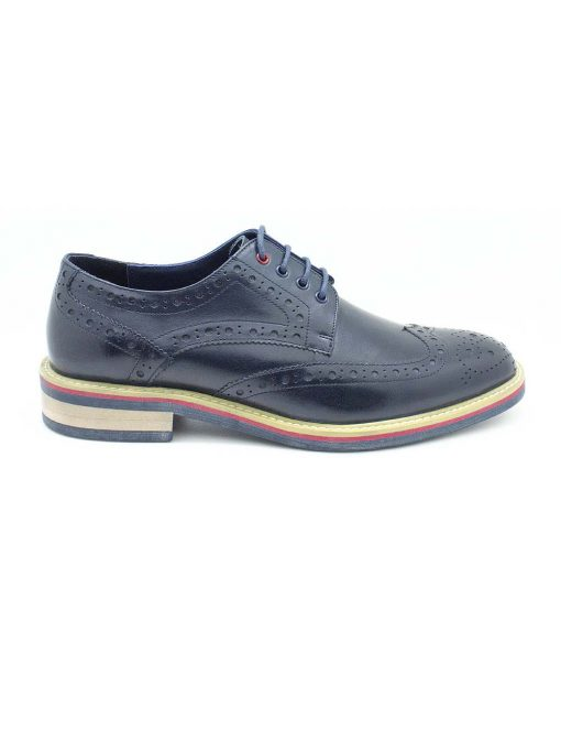 Navy Leather Derby Wingtip Shoes - F8B5.1