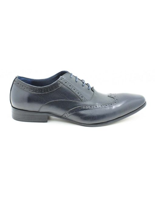 Navy Leather Oxford Wingtip Shoes - F3A5.1