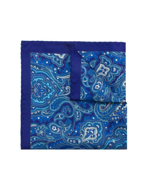 Navy with Blue Paisley Print Pocket Square PSQ10.9