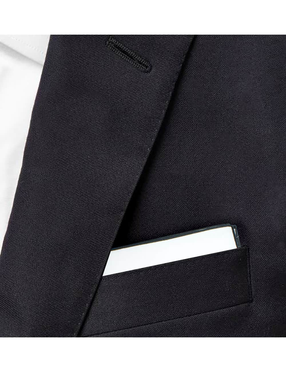 Solid White Woven Pocket Square with Black Trim PSQ20B.7
