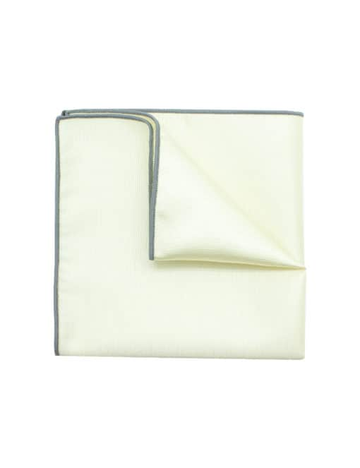 Solid Pearl White Pocket Square with Light Grey Trim PSQ38.6